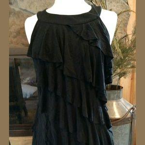WHBM Black Tier Ruffle Dress L